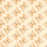 Pink and yellow butterfly seamless vector pattern with yellow background stock illustration
