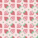 Cute seamless strawberry vector pattern in pink and green stock illustration