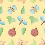 Vector little bugs and leaves seamless repeat pattern vector illustration