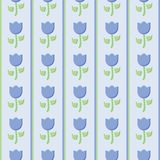 Blue tulip seamless vector pattern with vertical lines vector illustration