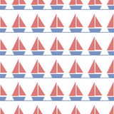 Childish geometric boats seamless vector pattern in red and blue royalty free illustration
