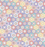 Colorful flower tiles seamless vector pattern with hexagons vector illustration