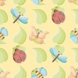 Cute little bugs on leaves seamless vector repeat pattern over yellow background vector illustration