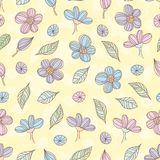 Doodle flowers and leaves seamless vector pattern vector illustration