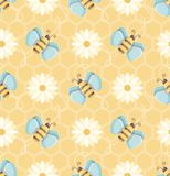 Flying bees and daises seamless vector pattern over honeycomb background royalty free illustration