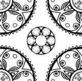 Seamless texture with round ornaments in monochrome stock illustration
