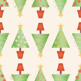 Topiary Christmas tree seamless vector pattern with stitched fabric style royalty free illustration