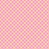 Pink and yellow diagonal gingham seamless vector pattern vector illustration