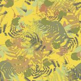 Seamless vector pattern with fern and autumn leaves. Background in a camouflage style. Print on fabric, paper, textile, creation, fall layouts, Wallpapers Stock Images
