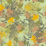 Seamless vector pattern with fern and autumn leaves. Background in a camouflage style. Print on fabric, paper, textile, creation, fall layouts, Wallpapers Stock Photography