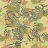 Seamless vector pattern with fern and autumn leaves. Background in a camouflage style. Print on fabric, paper, textile, creation, fall layouts, Wallpapers Royalty Free Stock Images