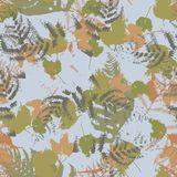 Seamless vector pattern with fern and autumn leaves. Background in a camouflage style. Print on fabric, paper, textile, creation, fall layouts, Wallpapers Stock Photos