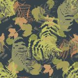 Seamless vector pattern with fern and autumn leaves. Background in a camouflage style. Print on fabric, paper, textile, creation, fall layouts, Wallpapers Royalty Free Stock Photography