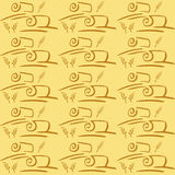 Seamless vector pattern with field and ears. Harvesting grain. Yellow background Royalty Free Stock Photo
