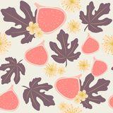 Seamless vector pattern of figs, leaves and flowers in pastel colors