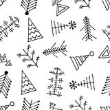 Seamless vector pattern with fir-trees. Black and white seasonal winter background with different decorative hand drawn fir tree. Graphic illustration. Series Stock Photography