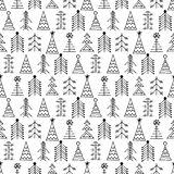 Seamless vector pattern with fir-trees. Black and white seasonal winter background with different decorative hand drawn fir tree. Graphic illustration. Series Stock Images