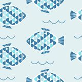The seamless vector pattern with the  fishes Royalty Free Stock Photography