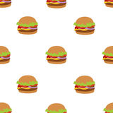 Seamless vector pattern with flat style burger image. Burger white background. Image of flat burger. Burger icon seamless background. White pattern with burger Stock Photography