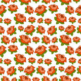 Seamless vector pattern, floral chaotic background with roses over white backdrop Stock Photos