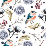 Seamless  vector pattern with flowers , branches, cotton,  bird, wild  Berry and leaves Stock Photo
