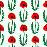 Seamless vector pattern with flowers. Bright symmetrical background with closeup poppies with leaves on the white backdrop Stock Image