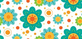 Seamless vector pattern with flowers and dots stock illustration