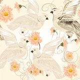 Seamless vector pattern with flowers and doves Royalty Free Stock Photography