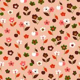 Seamless vector pattern with flowers and fruits of cherry royalty free illustration