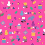 Seamless vector pattern of flowers and gifts icons on a magenta background. Wrapping paper. 8 march - international women`s day. Translation: 8 march stock illustration