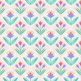 Seamless vector pattern with flowers. Seamless pattern with leaves and flowers, decorative floral texture vector illustration