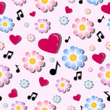 Seamless vector pattern of flowers, red hearts and musical notes. Festive background for Valentine`s Day. Stock Photo