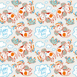 Seamless vector pattern of flying funny cow and chicken in the sky with clouds Royalty Free Stock Photo