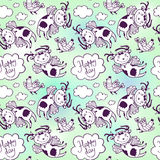 Seamless vector pattern of flying funny cow and chicken in the sky with clouds Stock Photo