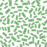 Seamless vector pattern of flying paper money. On white background Stock Photography