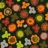 Seamless vector pattern with folk simple flowers in red orange and green colors on dark background. A seamless vector pattern with folk simple flowers in red vector illustration