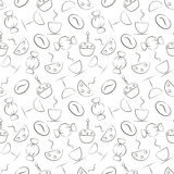 Seamless vector pattern with food and drink. Black and white background with cups, cofee grains, cake, candy and glass Stock Photography
