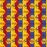 Seamless vector pattern for football championship 2016. NA soccer ball vector pattern. Romania flag and pattern Stock Images