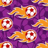 Seamless vector pattern with football soccer ball icons and flam. Seamless pattern with football soccer ball icons and flames. Vector illustration. Ideal for Stock Image