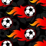 Seamless vector pattern with football soccer ball icons and flam. Seamless pattern with football soccer ball icons and flames. Vector illustration. Ideal for Royalty Free Stock Image