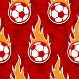 Seamless vector pattern with football soccer ball icons and flam. Seamless pattern with football soccer ball icons and flames. Vector illustration. Ideal for Stock Photos
