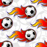 Seamless vector pattern with football soccer ball icons and flames. Seamless pattern with football soccer ball icons and flames. Vector illustration. Ideal for stock illustration