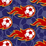 Seamless vector pattern with football soccer ball icons and flames. Seamless pattern with football soccer ball icons and flames. Vector illustration. Ideal for vector illustration