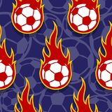 Seamless vector pattern with football soccer ball icons and flam. Seamless pattern with football soccer ball icons and flames. Vector illustration. Ideal for Stock Photography