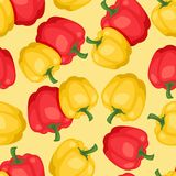 Seamless vector pattern with fresh ripe peppers.  Royalty Free Stock Image