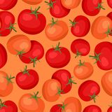Seamless vector pattern with fresh ripe tomatoes Royalty Free Stock Photo