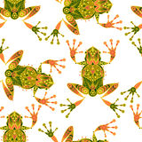 Seamless vector pattern with frogs. vector illustration