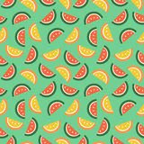Seamless vector pattern, fruits bright chaotic background with watermelons Royalty Free Stock Photos