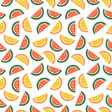 Seamless vector pattern, fruits bright chaotic background with watermelons and melons, on the white backdrop Royalty Free Stock Photography