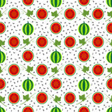 Seamless vector pattern, fruits bright symmetrical background with watermelons, whole and half, and leaves, over light backdrop Stock Image